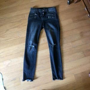 Bebe Viking wash skinny jeans with front zippers